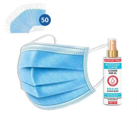 Kit Proteção Pro- 50 Máscaras cirúrgicas + Álcool em gel