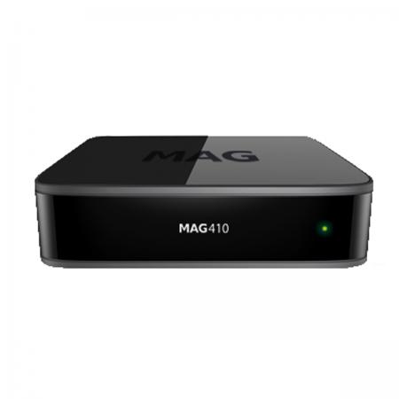 MAG410 - 4K HEVC Wi-Fi interna (b/g/n 1x1), OS Android 6.0.1, 2 GB RAM, 8 GB Flash.