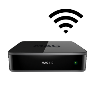 MAG410 - 4K HEVC Wi-Fi interna (b/g/n 1x1), OS Android 6.0.1, 2 GB RAM, 8 GB Flash.