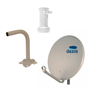 Kit Sat Dish Iron 60cm + Wallmount Support + LNB