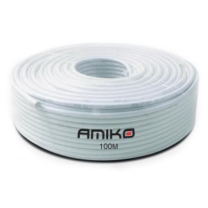 Coaxial Cable Amiko RG6 Dual-Shield 100MT White