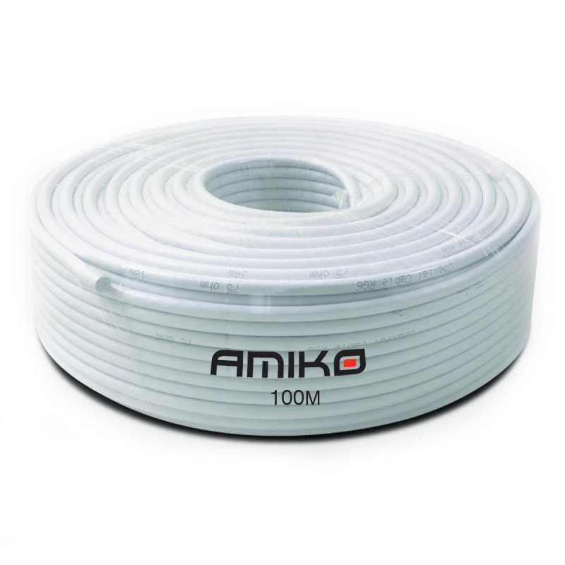 Cabo Coaxial Amiko RG6 Dual-Shield 100MT Branco