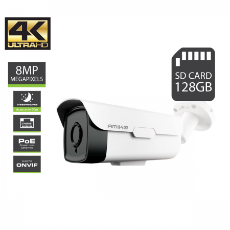 IPCAM Amiko BW60M4K POE 8MP SD Card up to 128GB