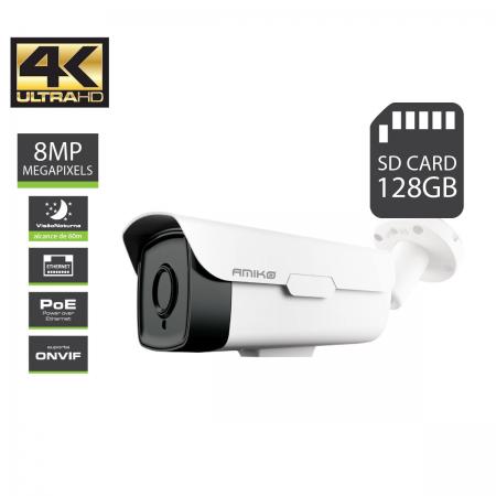 IPCAM Amiko BW60M4K POE 8MP Sup. Cartão SD até 128GB