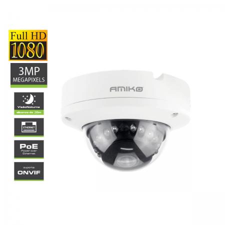 IPCAM 3MP Visão Noturna 20M Int/Ext POE Amiko DVW20M300