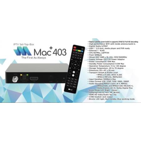 MAC+ 403 IPTV + DVBS2 STB