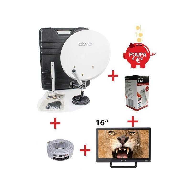 "Kit TV Viagem (TV 16"" +mala antena)"