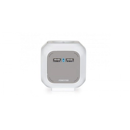 Cubo de 4 tomadas e 2 fichas USB 2.1A e cabo de 1.4m