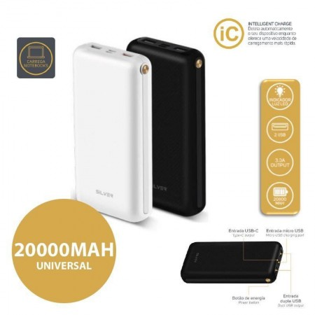 Power Bank C/ PD Silver S91 - 20000mah