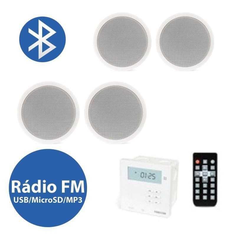Sistema Som Ampl. Bluetooth/Usb/Sd/Fm C/ 4 Colunas