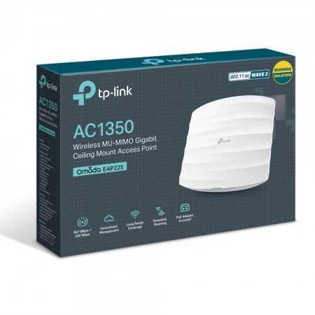 Access Point TP-Link - EAP225 - AC1350 Gigabit Dual-Band - Tecto
